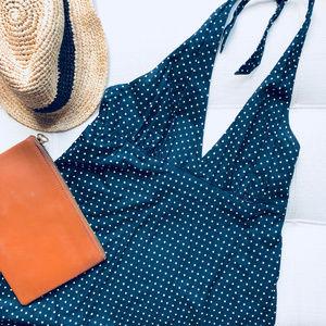 Gap Navy Polka Dot Halter Midi Dress